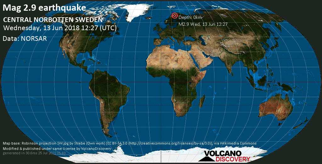 Minor mag. 2.9 earthquake  - CENTRAL NORBOTTEN SWEDEN on Wednesday, 13 June 2018