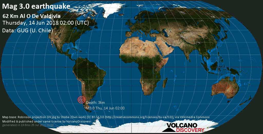 Minor mag. 3.0 earthquake  - 62 km al O de Valdivia on Thursday, 14 June 2018