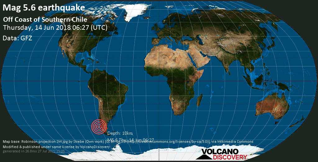 Moderate mag. 5.6 earthquake  - Off Coast of Southern Chile on Thursday, 14 June 2018