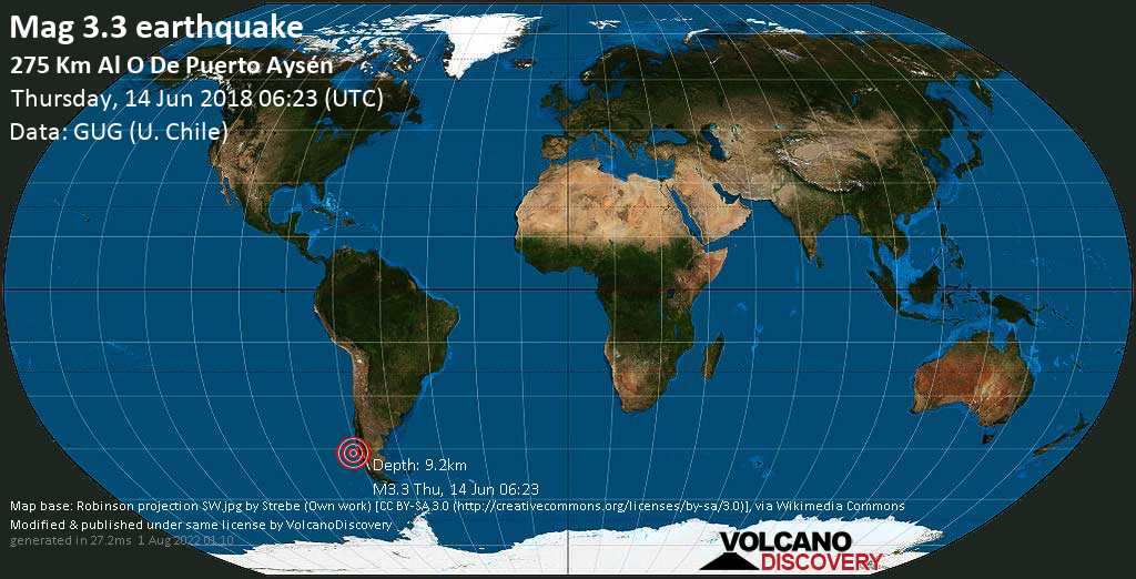 Minor mag. 3.3 earthquake  - 275 km al O de Puerto Aysén on Thursday, 14 June 2018