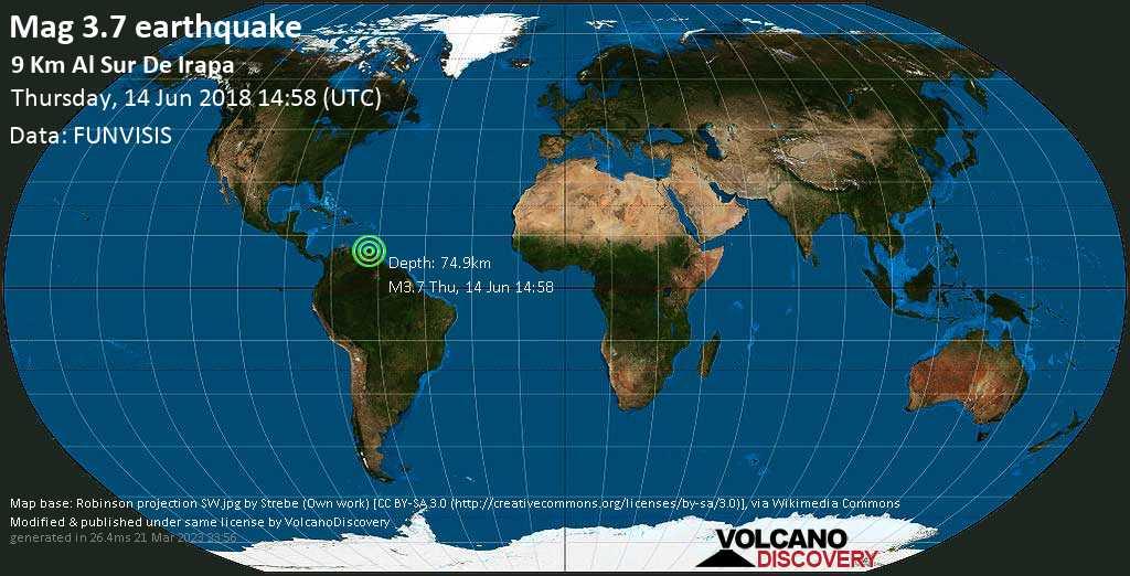 Minor mag. 3.7 earthquake  - 9 Km al sur de Irapa on Thursday, 14 June 2018