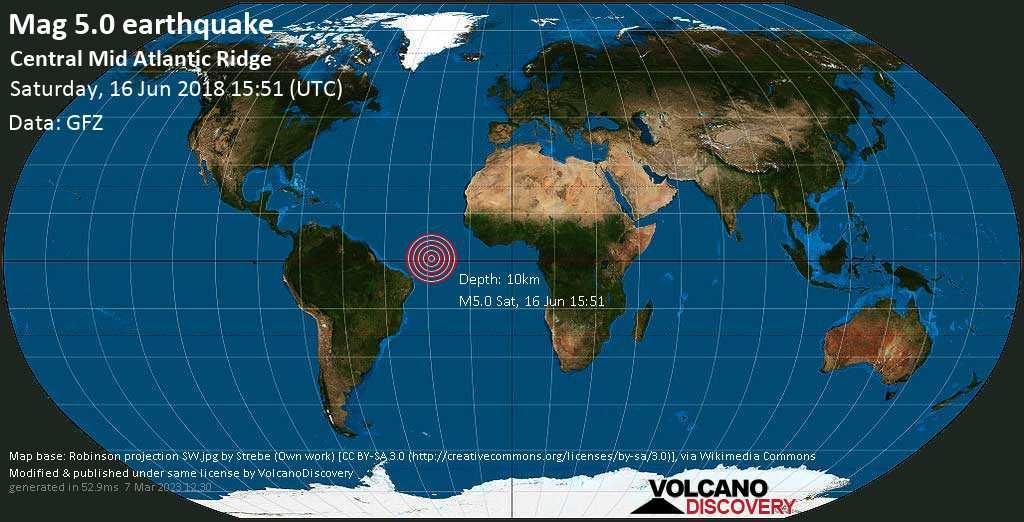 Moderate mag. 5.0 earthquake  - Central Mid Atlantic Ridge on Saturday, 16 June 2018