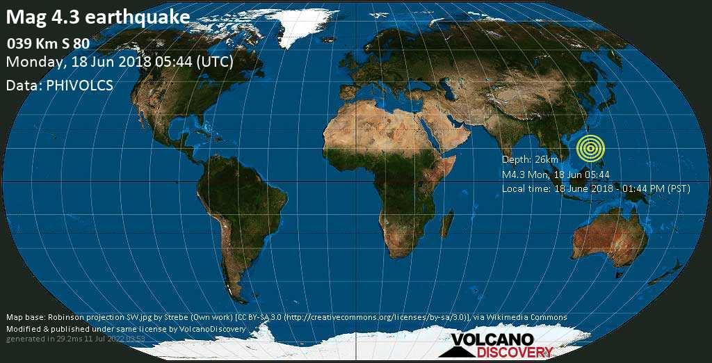 Light mag. 4.3 earthquake  - 039 km S 80 on Monday, 18 June 2018