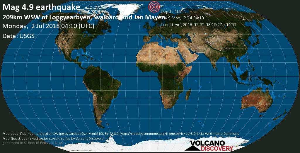 Light mag. 4.9 earthquake  - 209km WSW of Longyearbyen, Svalbard and Jan Mayen on Monday, 2 July 2018