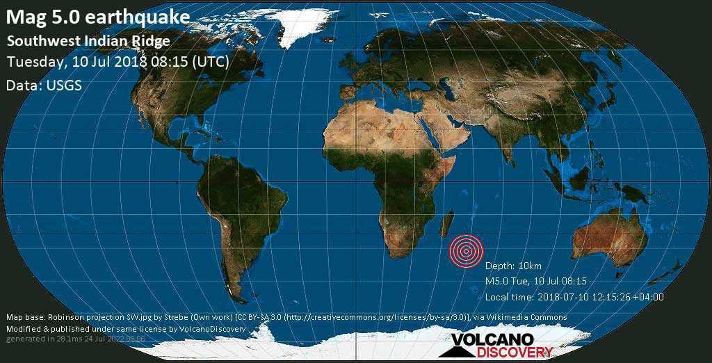 Moderate mag. 5.0 earthquake  - Southwest Indian Ridge on Tuesday, 10 July 2018
