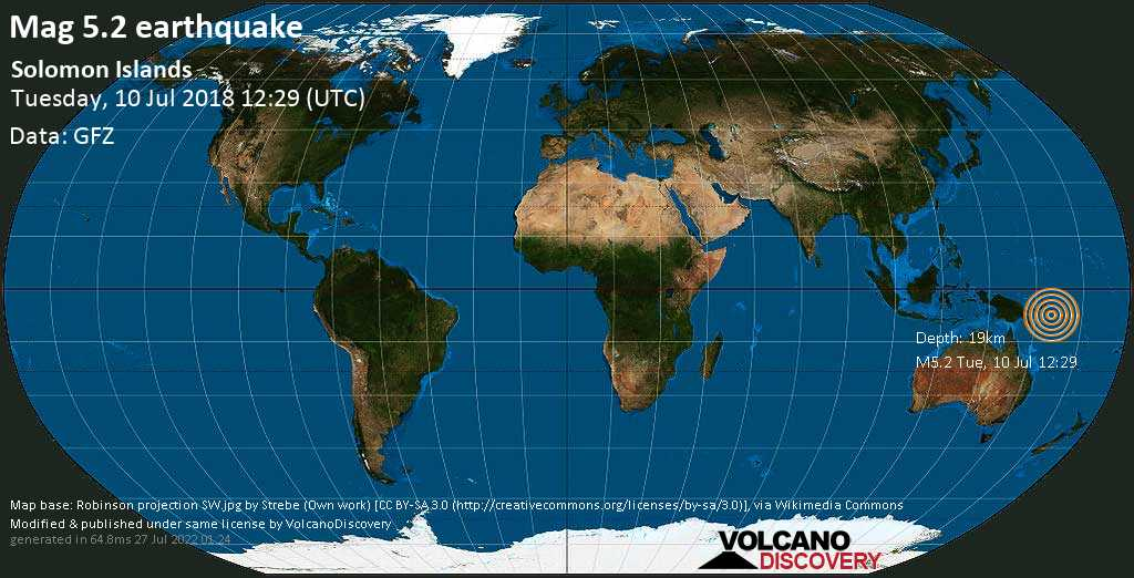 Moderate mag. 5.2 earthquake  - Solomon Islands on Tuesday, 10 July 2018