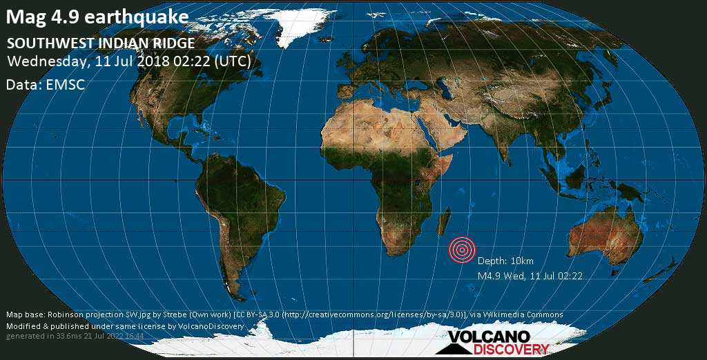 Light mag. 4.9 earthquake  - SOUTHWEST INDIAN RIDGE on Wednesday, 11 July 2018