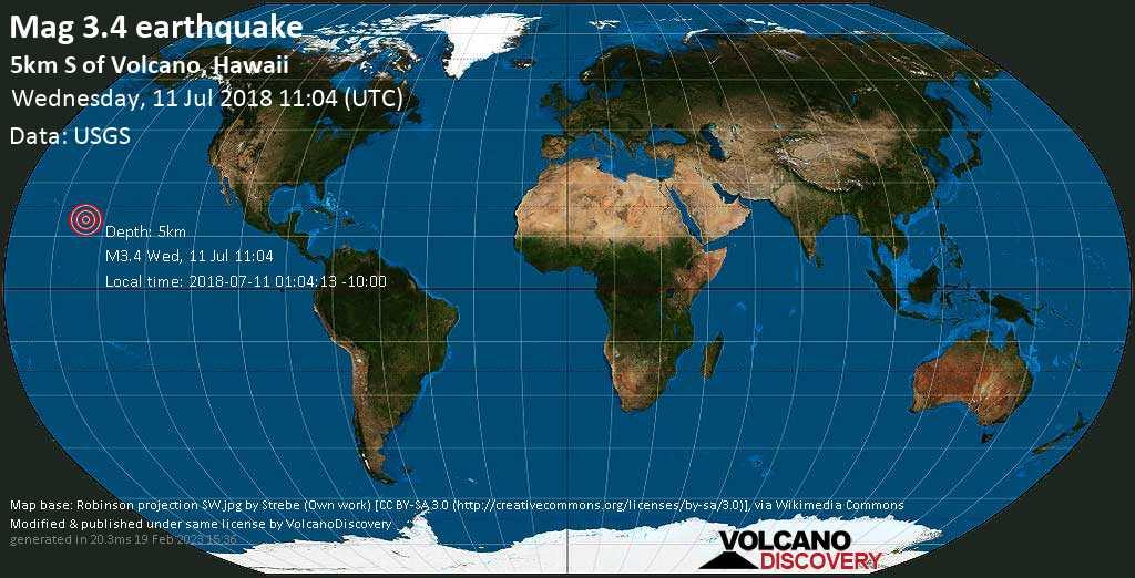 Minor mag. 3.4 earthquake  - 5km S of Volcano, Hawaii on Wednesday, 11 July 2018