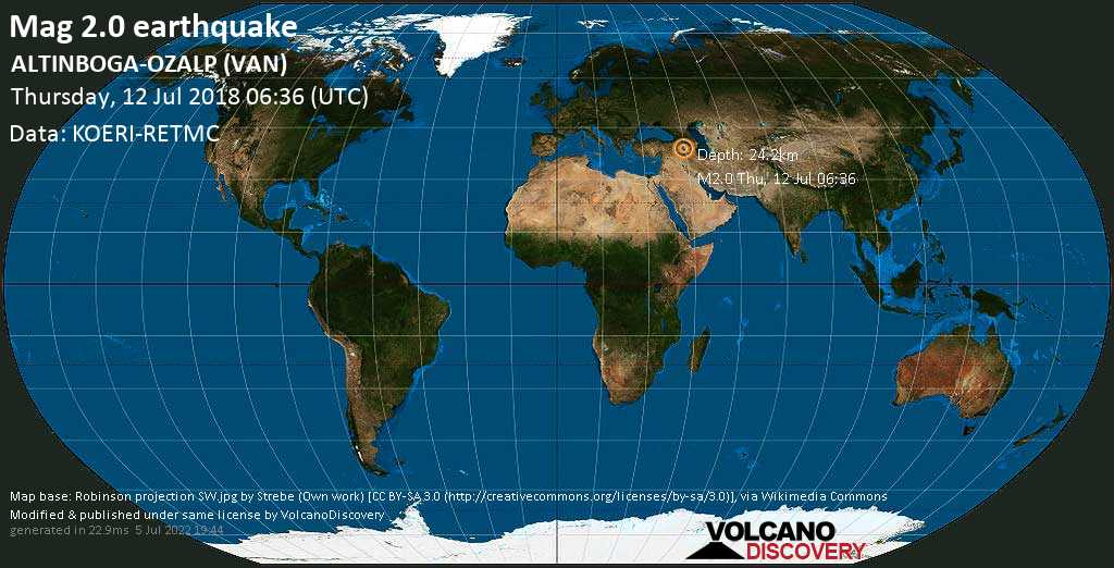 Minor mag. 2.0 earthquake  - ALTINBOGA-OZALP (VAN) on Thursday, 12 July 2018