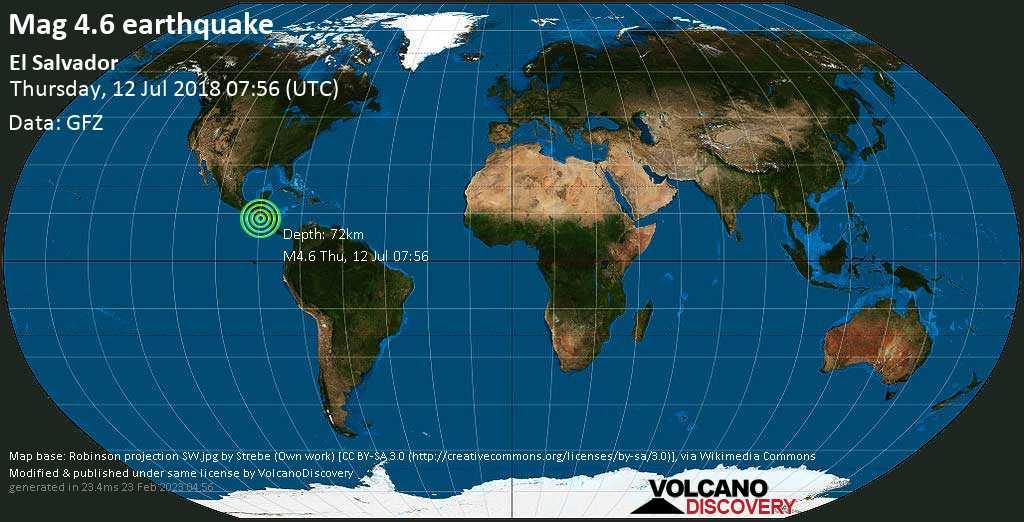 Light mag. 4.6 earthquake  - El Salvador on Thursday, 12 July 2018