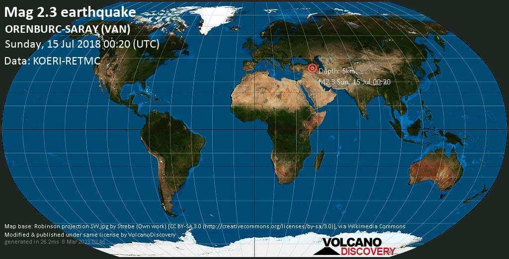 Minor mag. 2.3 earthquake  - ORENBURC-SARAY (VAN) on Sunday, 15 July 2018
