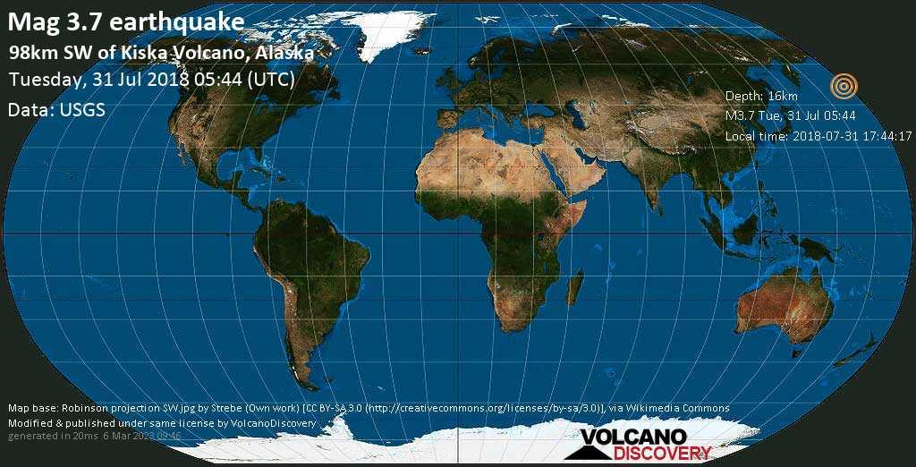 Minor mag. 3.7 earthquake  - 98km SW of Kiska Volcano, Alaska on Tuesday, 31 July 2018