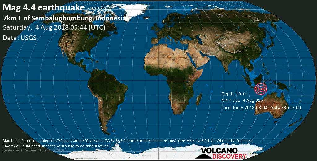 Light mag. 4.4 earthquake  - 7km E of Sembalunbumbung, Indonesia on Saturday, 4 August 2018