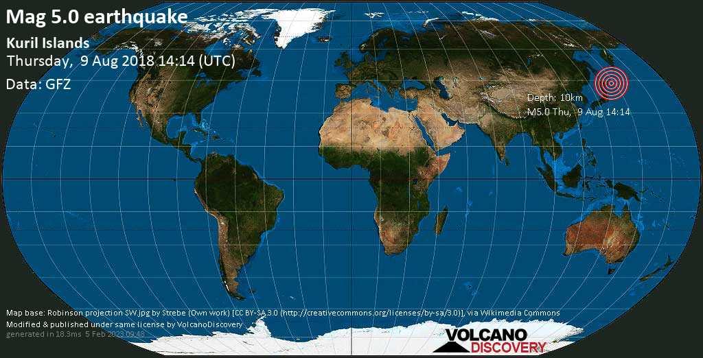 Moderate mag. 5.0 earthquake  - Kuril Islands on Thursday, 9 August 2018
