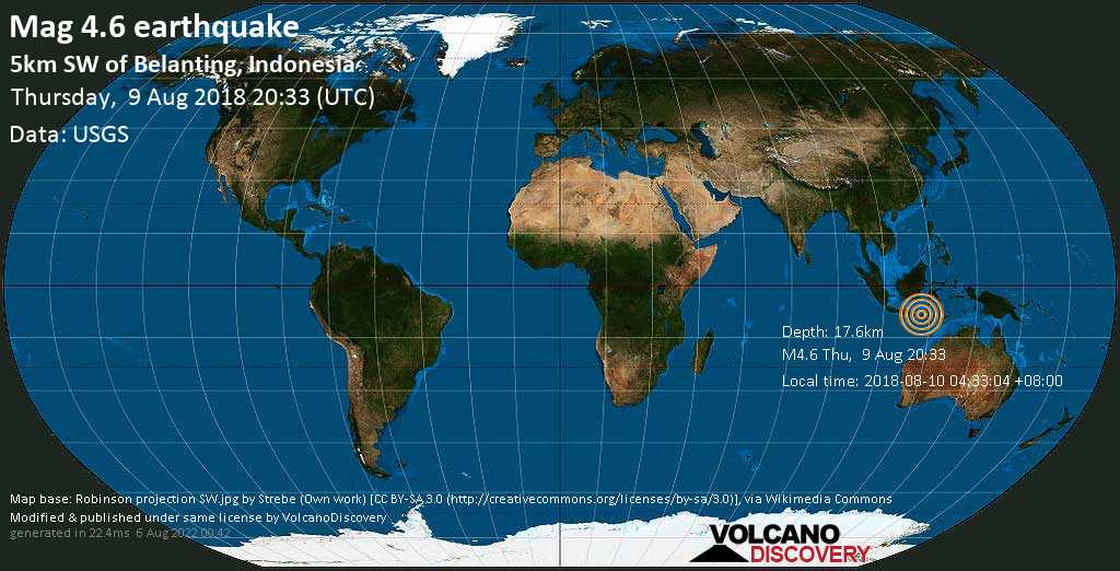 Light mag. 4.6 earthquake  - 5km SW of Belanting, Indonesia on Thursday, 9 August 2018