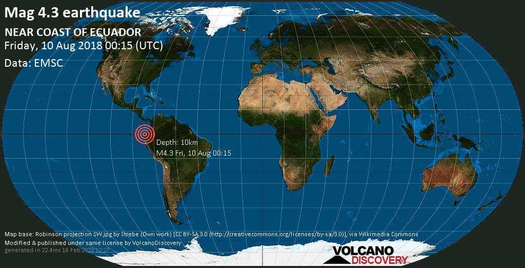 Light mag. 4.3 earthquake  - NEAR COAST OF ECUADOR on Friday, 10 August 2018