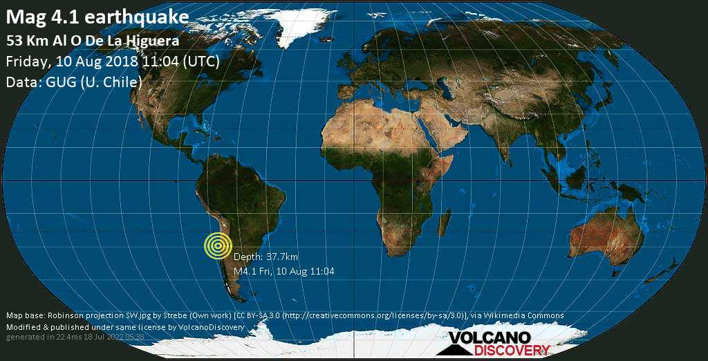 Light mag. 4.1 earthquake  - 53 km al O de La Higuera on Friday, 10 August 2018