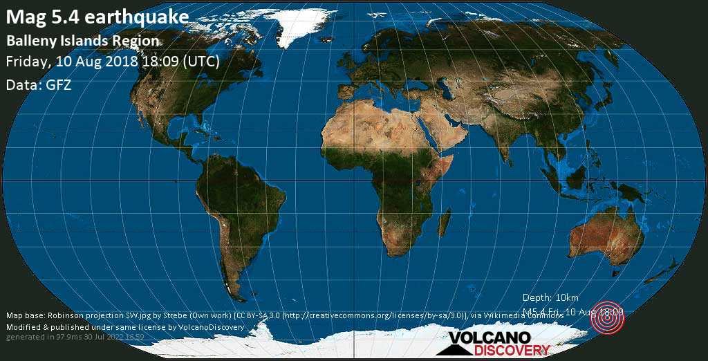Moderate mag. 5.4 earthquake  - Balleny Islands Region on Friday, 10 August 2018
