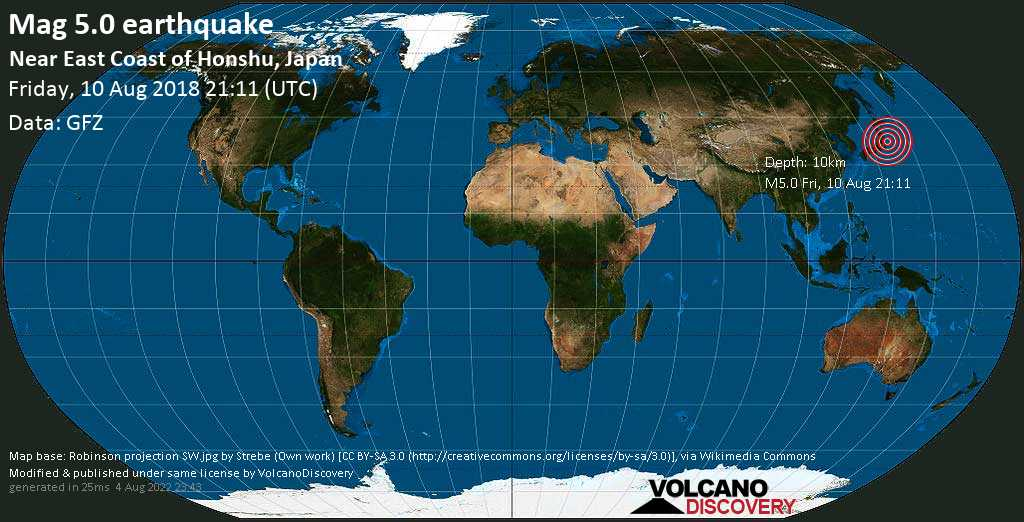 Moderate mag. 5.0 earthquake  - Near East Coast of Honshu, Japan on Friday, 10 August 2018