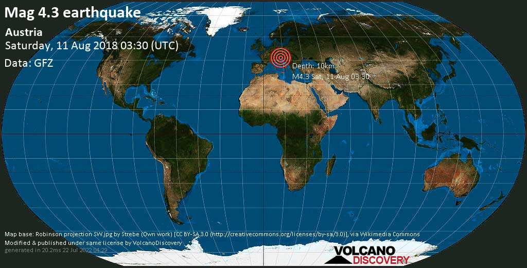 Light mag. 4.3 earthquake  - Austria on Saturday, 11 August 2018