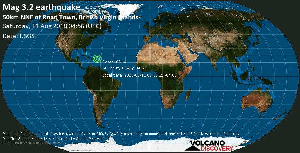 Minor mag. 3.2 earthquake  - 50km NNE of Road Town, British Virgin Islands on Saturday, 11 August 2018