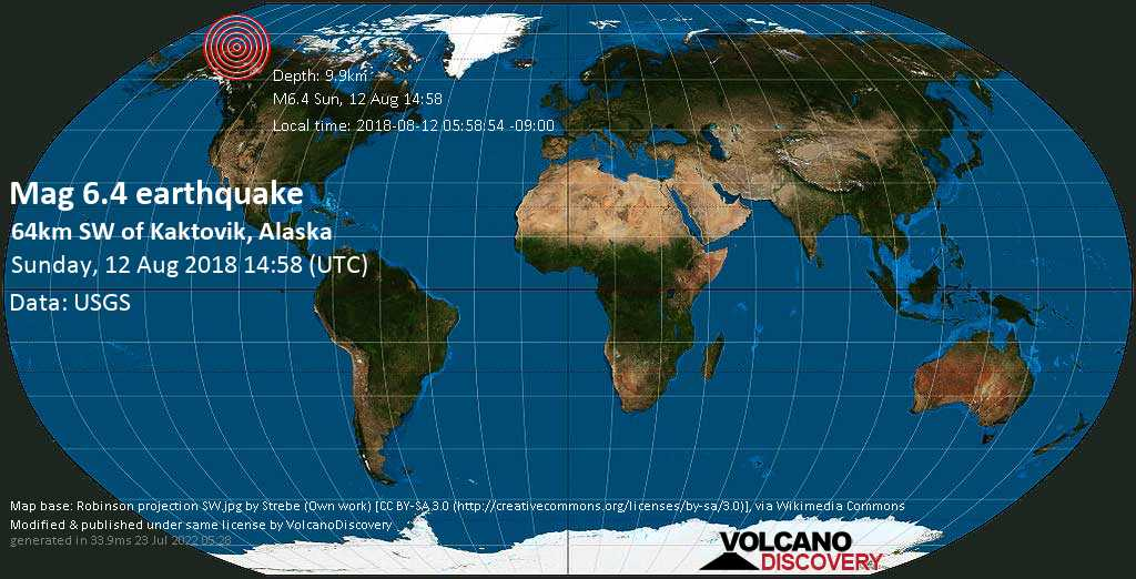 Strong mag. 6.4 earthquake  - 64km SW of Kaktovik, Alaska on Sunday, 12 August 2018