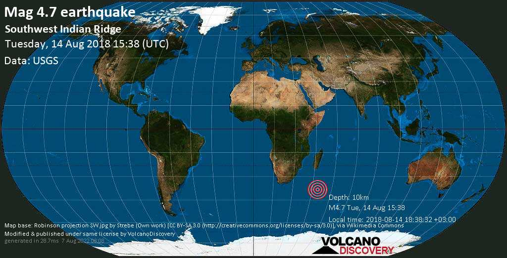 Light mag. 4.7 earthquake  - Southwest Indian Ridge on Tuesday, 14 August 2018