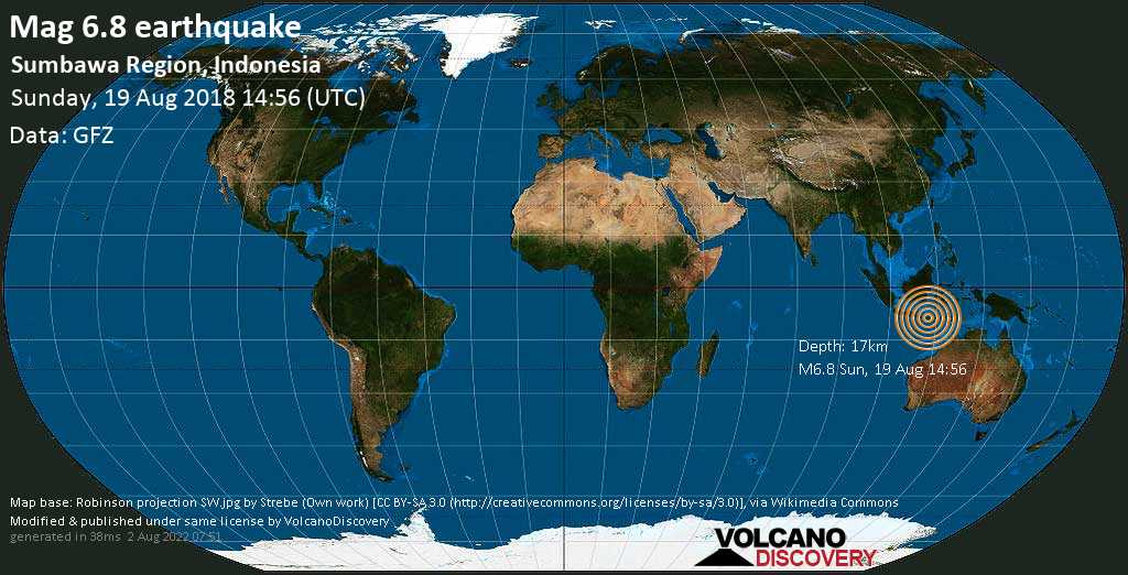 Strong mag. 6.8 earthquake  - Sumbawa Region, Indonesia on Sunday, 19 August 2018
