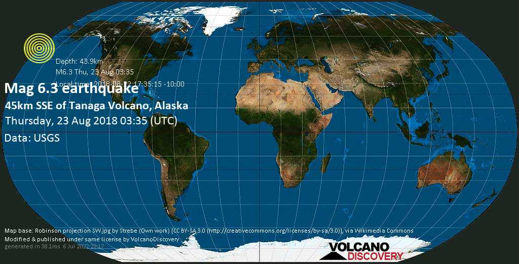 Strong mag. 6.3 earthquake  - 45km SSE of Tanaga Volcano, Alaska on Thursday, 23 August 2018