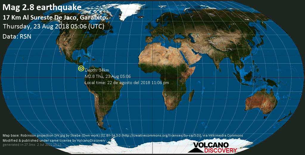 Minor mag. 2.8 earthquake  - 17 km al Sureste de Jaco, Garabito. on Thursday, 23 August 2018