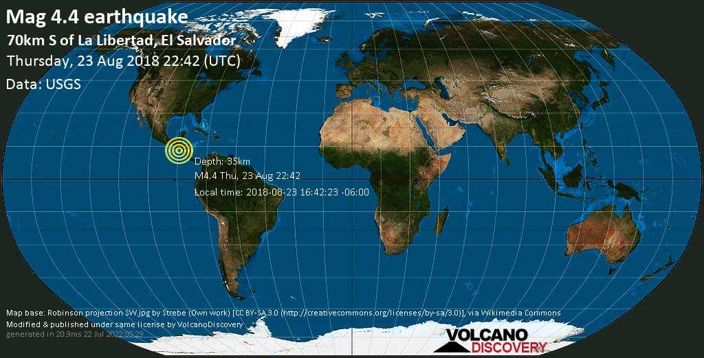 Light mag. 4.4 earthquake  - 70km S of La Libertad, El Salvador on Thursday, 23 August 2018