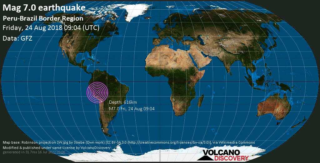 Major mag. 7.0 earthquake  - Peru-Brazil Border Region on Friday, 24 August 2018