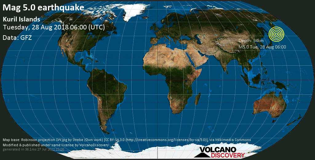 Moderate mag. 5.0 earthquake  - Kuril Islands on Tuesday, 28 August 2018