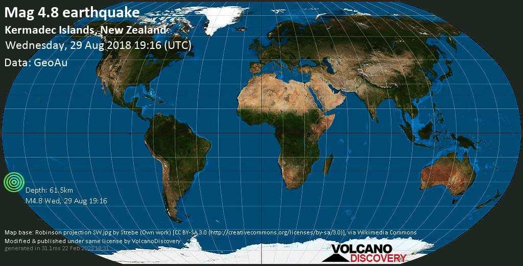 Light mag. 4.8 earthquake  - Kermadec Islands, New Zealand on Wednesday, 29 August 2018