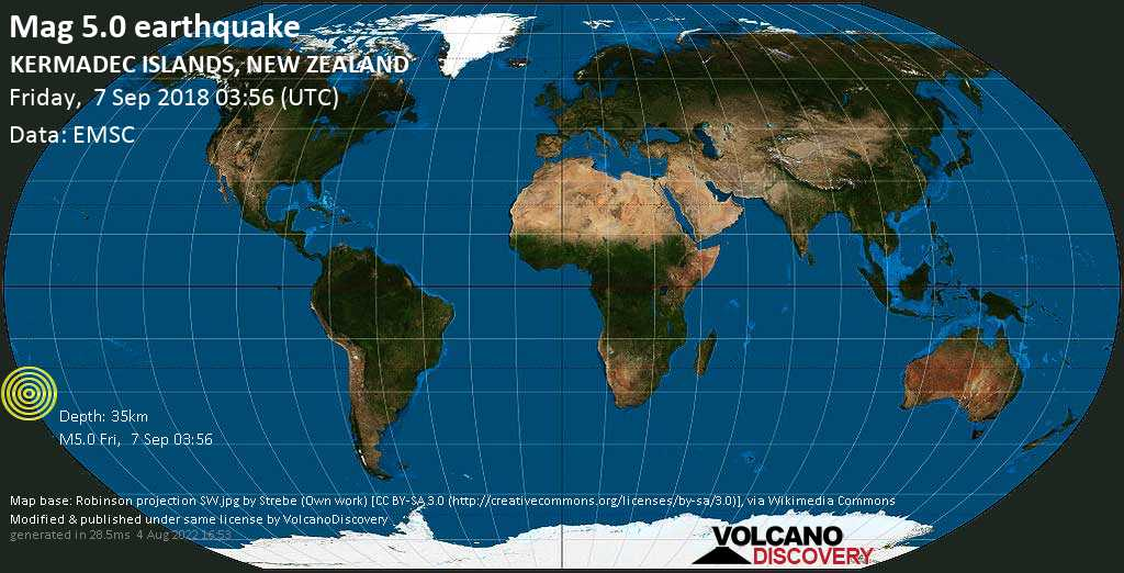 Moderate mag. 5.0 earthquake  - KERMADEC ISLANDS, NEW ZEALAND on Friday, 7 September 2018