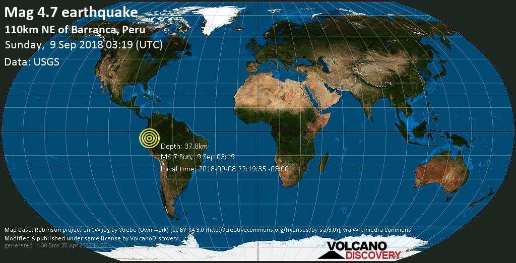 Light mag. 4.7 earthquake  - 110km NE of Barranca, Peru on Sunday, 9 September 2018