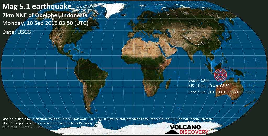 Moderate mag. 5.1 earthquake  - 7km NNE of Obelobel, Indonesia on Monday, 10 September 2018