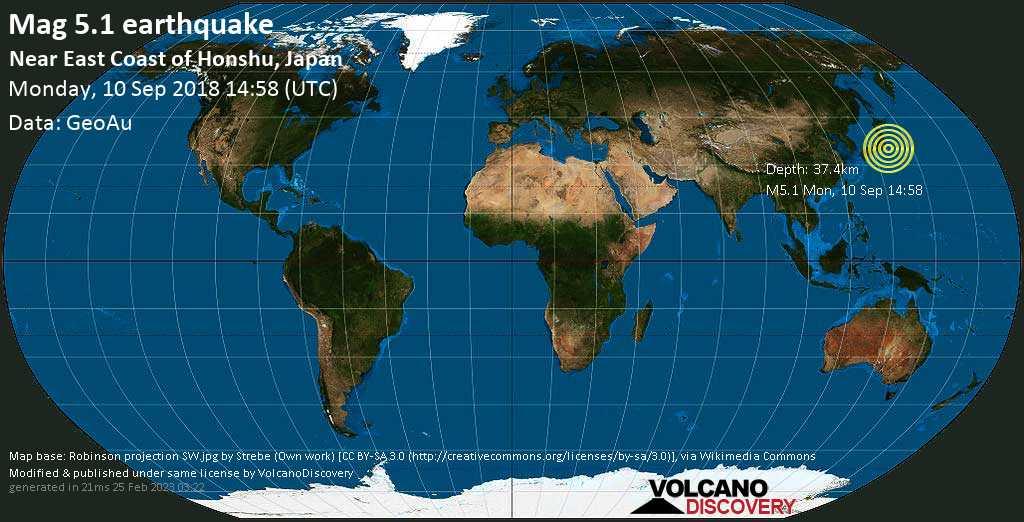 Moderate mag. 5.1 earthquake  - Near East Coast of Honshu, Japan on Monday, 10 September 2018