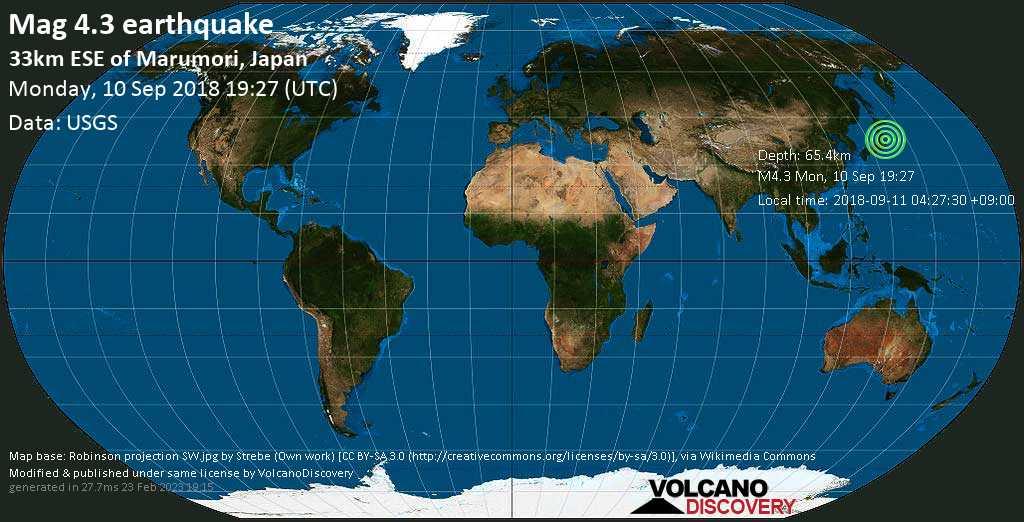 Light mag. 4.3 earthquake  - 33km ESE of Marumori, Japan on Monday, 10 September 2018