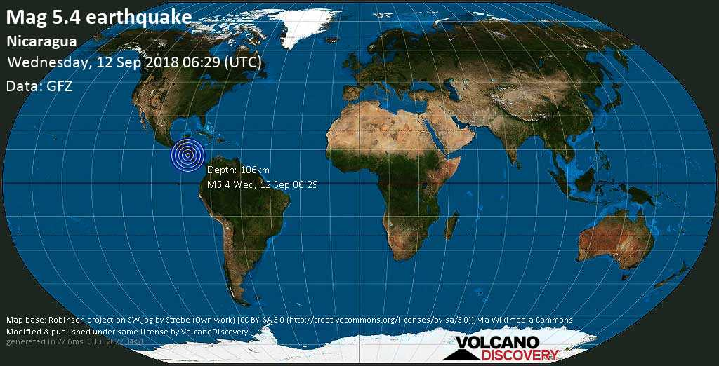 Moderate mag. 5.4 earthquake  - Nicaragua on Wednesday, 12 September 2018