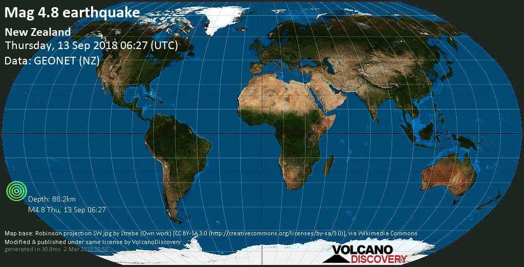 Light mag. 4.8 earthquake  - New Zealand on Thursday, 13 September 2018