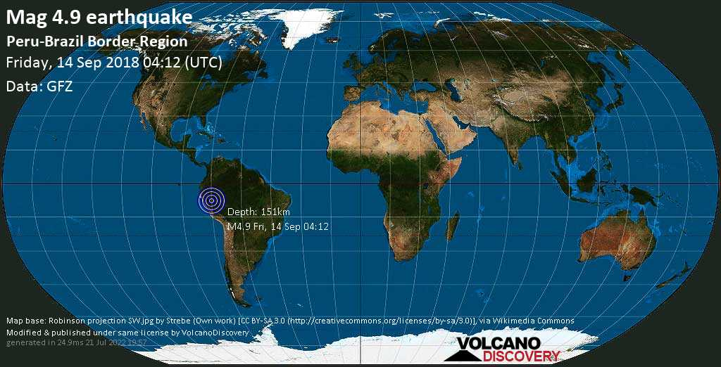 Light mag. 4.9 earthquake  - Peru-Brazil Border Region on Friday, 14 September 2018
