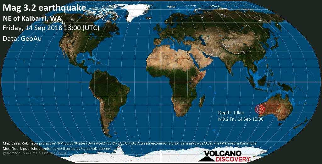 Minor mag. 3.2 earthquake  - NE of Kalbarri, WA on Friday, 14 September 2018