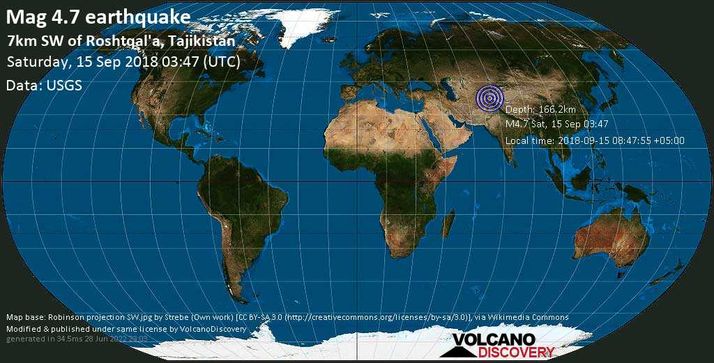 Light mag. 4.7 earthquake  - 7km SW of Roshtqal\'a, Tajikistan on Saturday, 15 September 2018