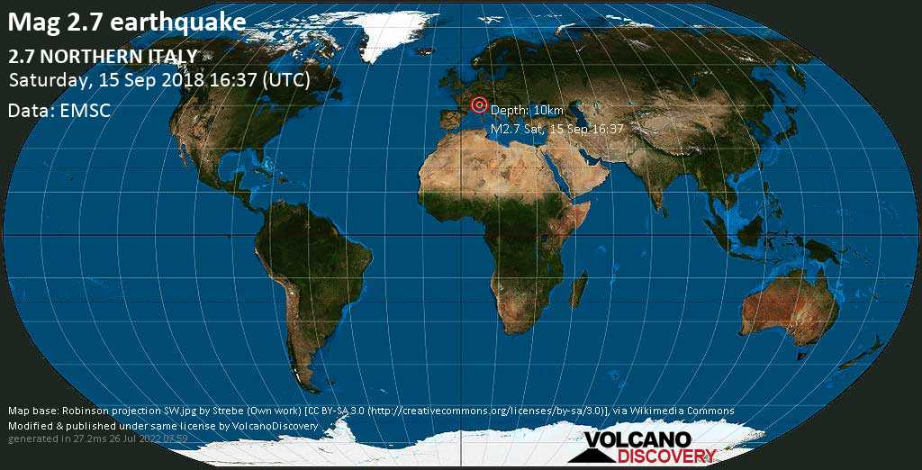 Minor mag. 2.7 earthquake  - 2.7  NORTHERN ITALY on Saturday, 15 September 2018