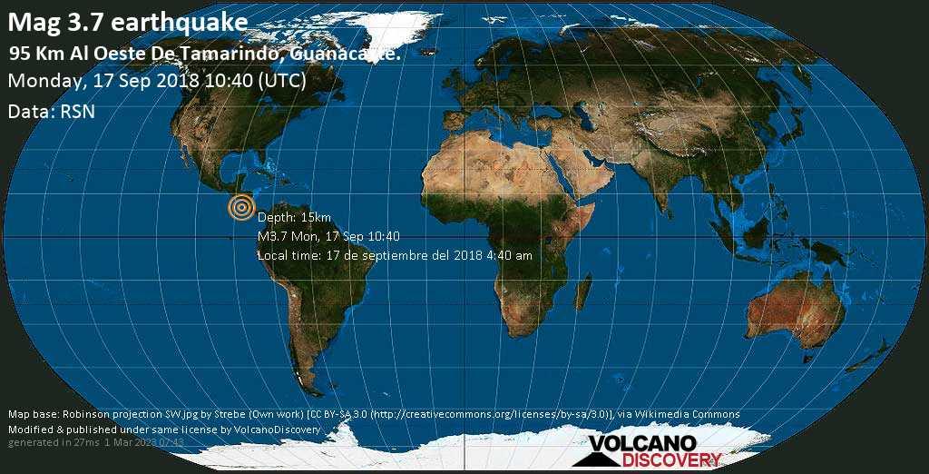 Minor mag. 3.7 earthquake  - 95 km al Oeste de Tamarindo, Guanacaste. on Monday, 17 September 2018