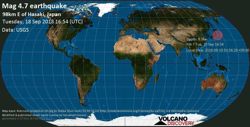 Light mag. 4.7 earthquake  - 98km E of Hasaki, Japan on Tuesday, 18 September 2018