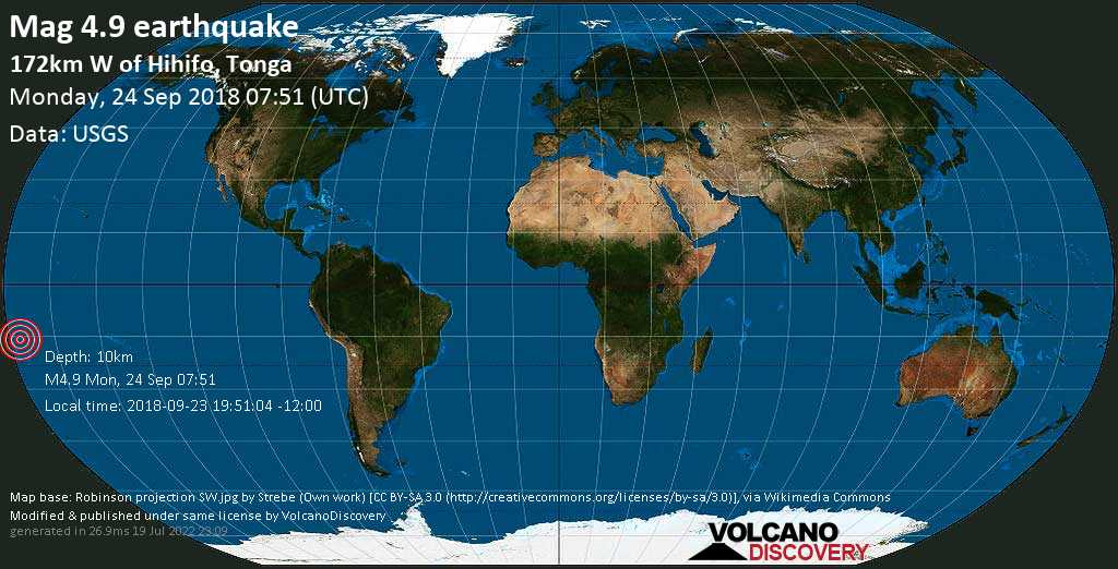 Light mag. 4.9 earthquake  - 172km W of Hihifo, Tonga on Monday, 24 September 2018