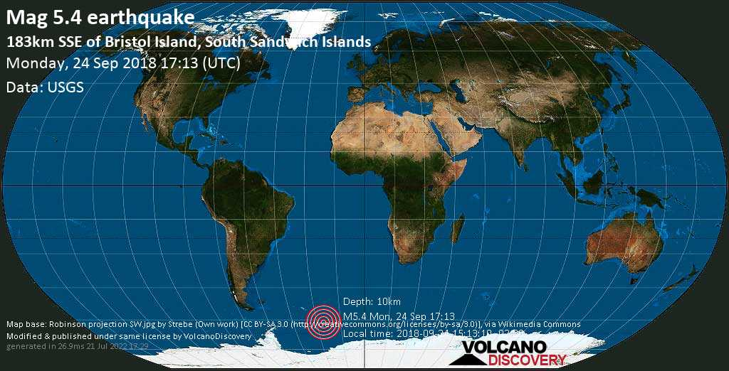 Moderate mag. 5.4 earthquake  - 183km SSE of Bristol Island, South Sandwich Islands on Monday, 24 September 2018