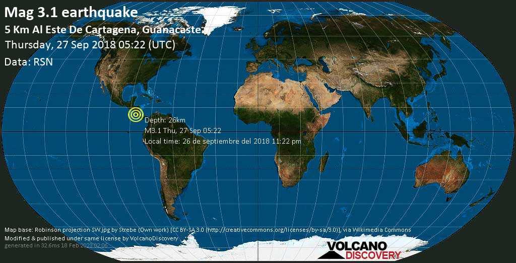 Minor mag. 3.1 earthquake  - 5 km al Este de Cartagena, Guanacaste. on Thursday, 27 September 2018